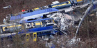 Aerial view of rescue teams at the site where two trains collided head-on near Bad Aibling, Germany. Photo / AP