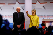 Democratic presidential candidates Sen. Bernie Sanders, left, and Hillary Clinton. Photo / AP
