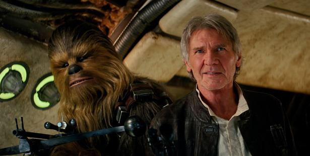 Chewbacca (Peter Mayhew) and Han Solo (Harrison Ford) in Star Wars: The Force Awakens.