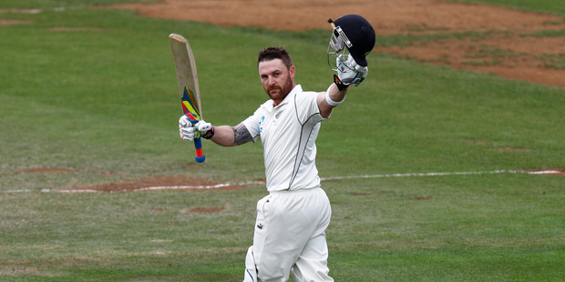 Brendon McCullum after scoring his record triple-century against India in 2014. Photo / Mark Mitchell