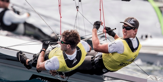 Peter Burling, right, and Blair Tuke have a comfortable lead at the 49erFX World Championships in Clearwater, Florida.