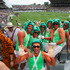 Fans enjoy the festivities at the Dick Smith NRL Auckland Nines rugby league tournament, held at Eden Park. Photo: Brett Phibbs