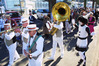 Vic Viggers (left) tromboning with The Dixielanders on Marine Parade, Napier, in a summery mid-winter Deco Decanted in 2003, when he was 83.