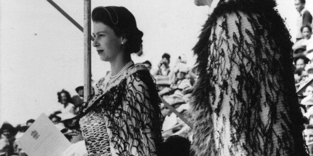 Queen Elizabeth II in her newly gifted Korowai cloak in Rotorua during her 1954 tour. Photo / NZ Herald archive