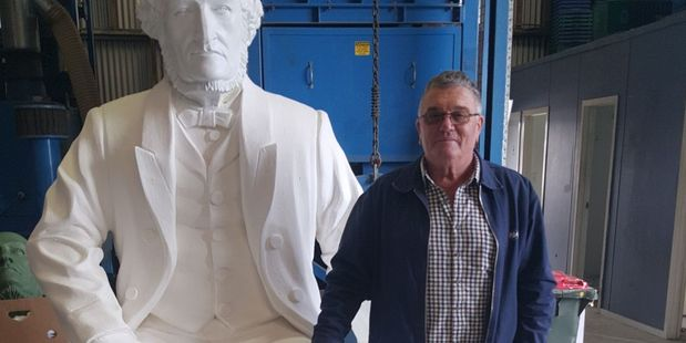 Carterton Lions Club project organiser Allan Renall beside the statue of Carterton founding father, Charles Rooking Carter. Its bronze equivalent will be unveiled on Thursday. PHOTO/SUPPLIED