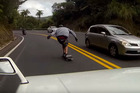 YouTube clip of a skateboarder speeding down the Brynderwyn Hills.