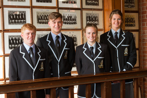 Wanganui Collegiate's student leaders (from left) deputy head boy Jules Harrey, head boy James Davis, head girl Anja Petersen-Hardy and deputy head girl Emily Bolt. PHOTO/SUPPLIED