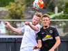 Ross Howard and Ben Harris contest for the high ball during ASB premiership Team Wellington vs. Southern United. Photo / Photosport.co.nz