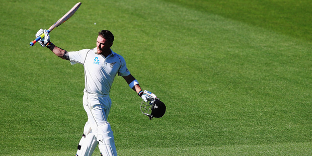 Brendon McCullum acknowledges the crowd after being dismissed for 195 runs during the test match between New Zealand and Sri Lanka at Hagley Oval. Photo / Getty Images