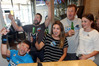 North Carolina expat Rachel Dame with a group of staunch North Carolina fans, watching the Super Bowl at Turks Bar in Havelock North yesterday. Photo / Paul Taylor