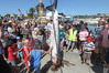 The crowd admire the 70kg mako shark caught by Luke Ross of Napier.