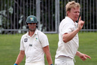 CD batsman Tom Bruce goes for loose change as ND bowler Scott Kuggeleijn celebrates his wicket, caught Tim Seifert. Photo / Duncan Brown