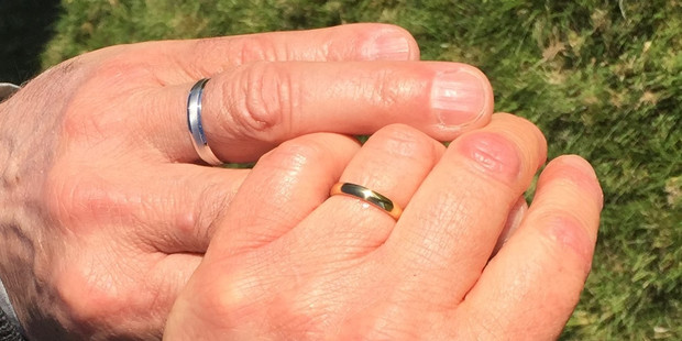 Janet and Bill told friends on Facebook they'd gotten married by posting a photo of their wedding rings. PHOTO/SUPPLIED