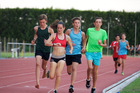 Guy Harrison (green shirt) on his way to breaking an NZ Paralympics record in the (T35) 800m race in Hastings on Tuesday. PHOTO/MARK ROBERTS, HASTINGS ATHLETICS CLUB