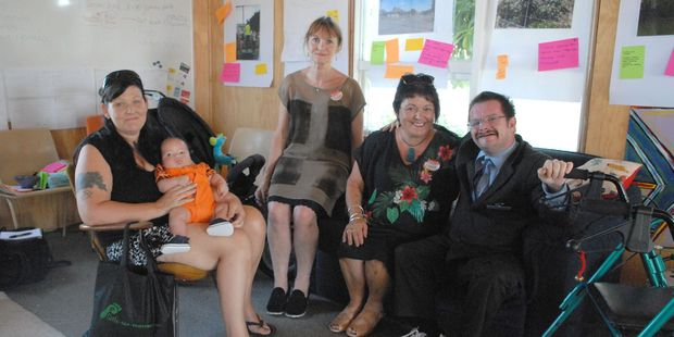 Michelle Russell, left, with George Rackstraw, Julie Adam, Masterton East community development head, Donna Gray, Te Awhina Cameron Community House co-ordinator, and Peter Knighton. PHOTO/EMILY NORMAN