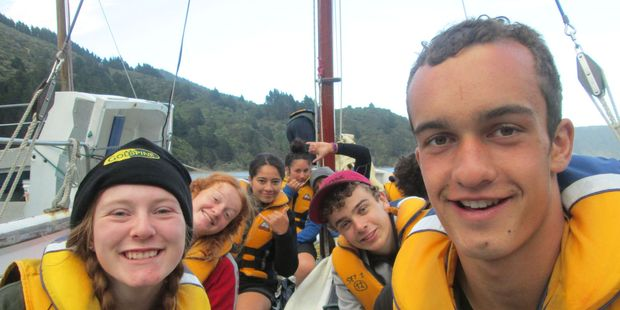 """Jonas and members of his """"watch"""" on a sailing adventure. PHOTO/SUPPLIED"""