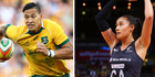 Recent social media exchanges suggesting Silver Fern shooting ace Maria Tutaia and Wallabies star Israel Folau are an item. Photos / Getty Images