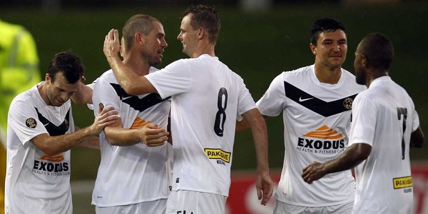 Team Wellington moved into second place in the ASB Premiership on Thursday with a 4-2 victory over Waitakere United at QBE Stadium. Photo / Getty Images.