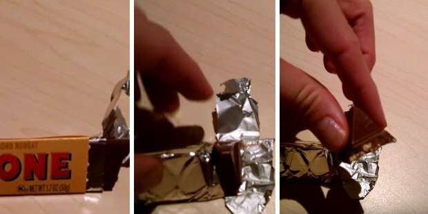 It turns out there is a much easier way to break off a piece of Toblerone. Photo / YouTube, Kaitlin Moore