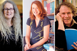 From left, Elizabeth Knox, Nicky Pellegrino, Harry Ricketts and Stacy GreGG are among the line-up of writers attending the inaugural Ruapehu Writers Festival. Pictures / Dean Purcell, NZME