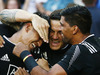 Rieko Ioane of New Zealand (L) is congratulated by teammate Sonny Bill Williams (C) after scoring the final try to win the 2016 Sydney Sevens final match. Photo / Getty Images