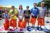 The newest Jetstar Super Swim squad members, Sophie Robb (left), Te Manewha Rikihana, Tamrah Titcombe, Pierce Collins, Sophie Irving and Daniel Shanahan. Photo / Simon Watts
