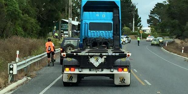 Traffic at the scene of the crash. Photo / Waimauku Facebook