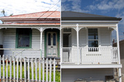 The Leighton St house sold for over $1 million in 2014 in its original state (left); and (right) after its dramatic rebuild. Pictures / Jason Oxenham, Nick Reed
