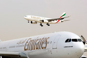 Two Emirates aircraft seen at Dubai airport. Photo / Bloomberg
