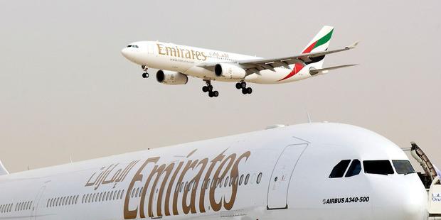 Two Emirates aircraft seen at Dubai airport. Photo / Bloomberg