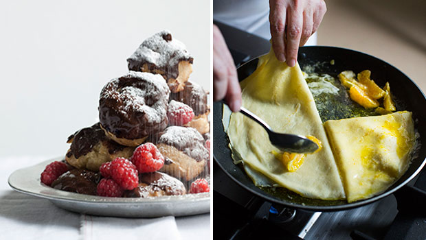 Sweet treats for Valentine's Day: Profiteroles or pancakes (with lemon, butter and sugar!). Photos / Bite magazine