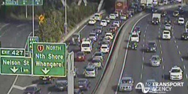 A breakdown blocked lanes on the Auckland Harbour Bridge. Photo / NZTA