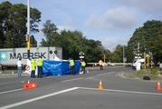 Police say the accident happened at the Fendalton Road crossing shortly after 8am. Photo / Kurt Bayer