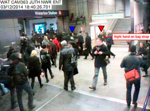 Mr Pearson seen on CCTV footage recorded at Waterloo Underground Station at 18:40:26.