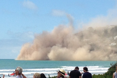 The cliff collapsed on Whitewash Head in Christchurch. Photo / Sarah Holliman