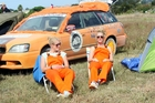 Eva Muller (left) and Josine van der Knoop, from Holland and now living in Sydney, are on the road with the cancer society fundraising 'Sh**box' Rally. They are pictured in Te Awanga, near Hastings. Photo / Paul Taylor