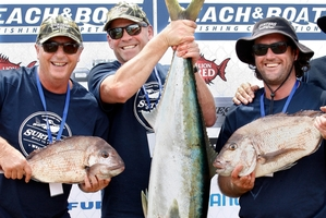 Jack Brown, from Perth, Don Howard of Tauranga with his 20kg kingi and Mark Sheaff of Tauranga show off their catches at last year's Century Batteries Beach and Boat Fishing Competition. Photo / Tania Whyte
