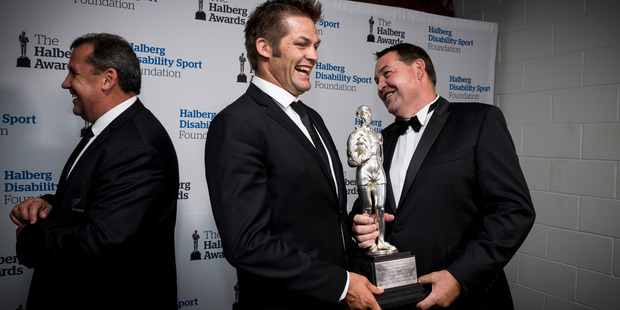 Helberg Award winners the All Blacks, Ian Foster, Richie McCaw and Steve Hansen during the 53rd Halberg Awards held at Vector Arena. Photo / Dean Purcell