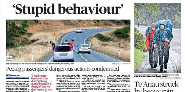 How the Southland Times reported the alarming stunt.