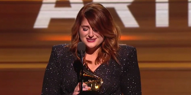 Singer Meghan Trainor burst into tears when she won the Grammy for Best New Artist.