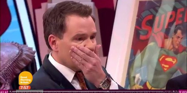 Completely unaware of the joke, a shocked Richard threw his hand to his face. Photo / Supplied via ITV