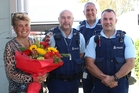 Senior Constable Lynda Kendrick (left) retired from the police last week after 14 years' service. Pictured with her are Sergeant Paul Adrian, Senior Sergeant Nathan Davis and Senior Constable Murray Anderson, who has transferred to the Hawke's Bay District after 21 years in Dannevirke. Photo / Christine McKay