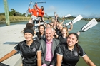 Jetstar's Grant Kerr takes to the water with the Avonside Girls' High's dragon boating crew.