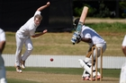 Chris Atkinson bowling on debut for Bay of Plenty at Bay Oval at the weekend. Photo / George Novak