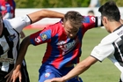 WaiBOP's Stephen Hoyle in action against Hawke's Bay United last weekend.