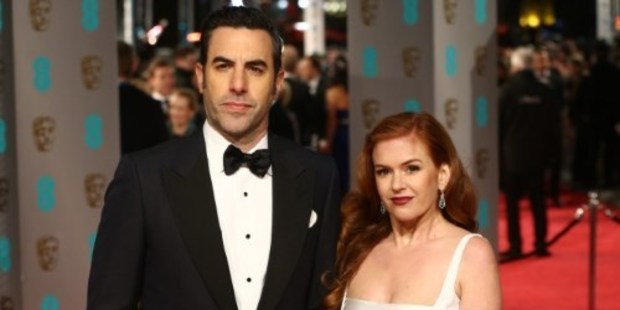 British actor Sacha Baron Cohen and his Australian wife, actress Isla Fisher at the BAFTA British Academy Film Awards. Photo / AFP