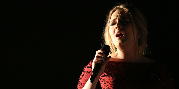 Adele performs All I Ask at the 58th annual Grammy Awards, a performance marred by sound issues. Photo/AP