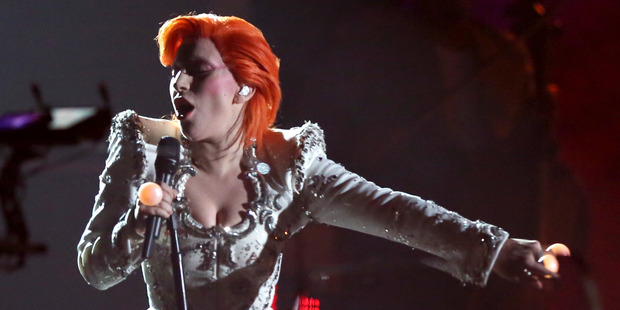 Lady Gaga performs a tribute to David Bowie at the 58th annual Grammy Awards. Photo/AP