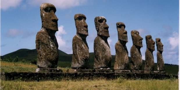 Rapa Nui giant stone sculptures. Photo / Angela Gregory