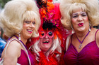 Bimbo (left), Miss Mole (centre) and Buffy during the Big Gay Out held at Coyle Park in Pt Chevalier, Auckland. Photo / Dean Purcell.